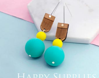 1 Pair (SBW12) Silicone Balls Laser Cut Geometric Wooden Dangle Earrings - HEW Series - Ocean Sea Summer Beach