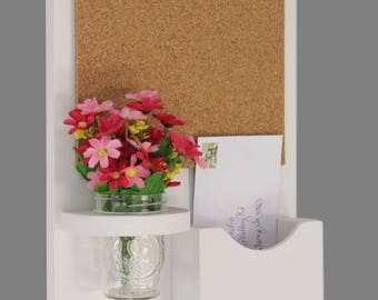 Cork Board Mail Organizer - Mail and Key Holder - Letter Holder - Single Slot - Key Hooks - Jar Vase - Organizer - Painted Wood