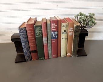 Rustic Bookshelf Ideas - Brown Burgundy Blue Book Collection - Vintage Books for Decor - Books By Color - Used Book Stack