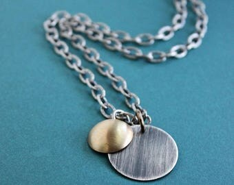 Mens Mixed Metal Pendant Necklace, Silver Disc Chain Necklace, Silver And Brass Necklace