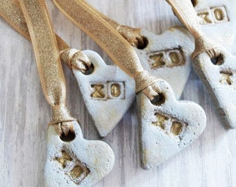 XOXO Hearts Salt Dough Ornament Set of 6 in Whitewash and Gold