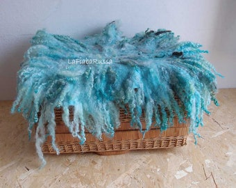 newborn props blue gray wool baby basket filler Photo Prop felted blanket Curly Layer photography Prop newborn UK blanket felted locks layer