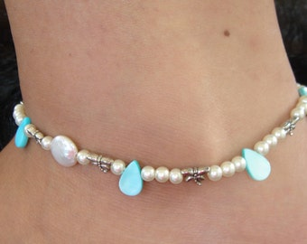 Womens Ankle Bracelet White Pearls Blue Shell Silver Dragonfly Anklet
