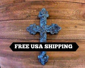 Grapevine Wall Cross | Turquoise | Cross | Decorative Cross | Plaster | Cross Wall Decor | Unique Wall Cross | Vineyard | FleurDeLisJunkie