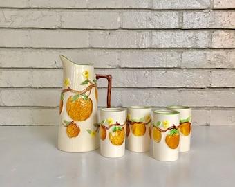 Vintage Juice Set Ceramic Pottery Orange Hand Painted Pitcher and 4 Juice Cups