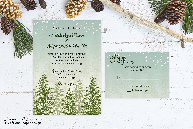 Rustic Winter Wedding Invitation, Winter Wedding Invitations ...