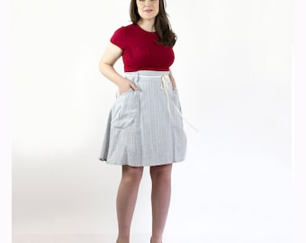 Rayna Wrap Skirt, Organic skirt, Summer weight hemp organic cotton yarn dyed stripe, Handmade in Canada