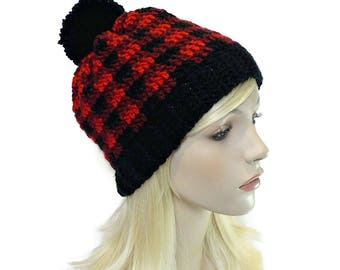 Buffalo Plaid Hat, Red and Black Hats, Plaid Beanie, PomPom Hat, Pom Pom Beanie, Crochet Hats for Women, Hats for Teens, Winter Hat Teenager