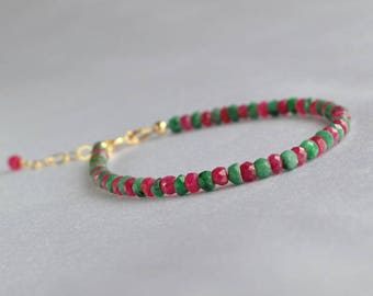 Genuine ruby and emerald bracelet, gold filled gemstone bracelet, July birthstone, stacking bracelet