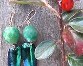 Emerald Beetlewing Earrings