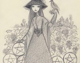 Tarot - 9 of Pentacles - Original Drawing