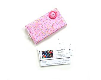 Business card case, pink cotton fabric business card holder, credit card holder for her, gift under 12, magnetic snap closure, 2 pockets