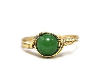 25% Off Sale Green Jade 14k Yellow Gold Filled Wire Wrapped Ring Custom Sized
