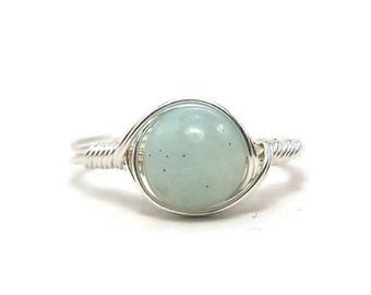 25% Off Sale LG Blue Amazonite Ring, B Grade Amazonite Ring, Argentium Sterling Silver Ring,  Wire Wrapped Ring