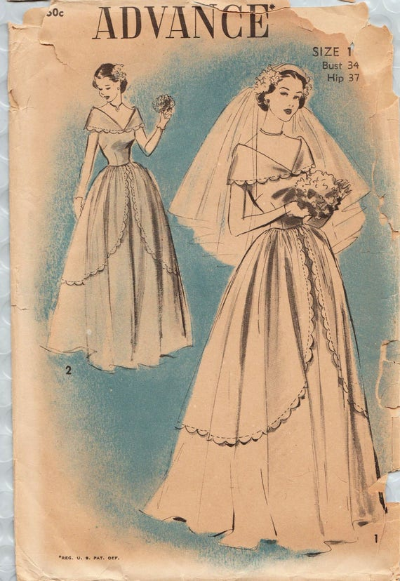 Advance 5177 vintage 1940s sewing pattern bridal gown for 1940s wedding dress patterns