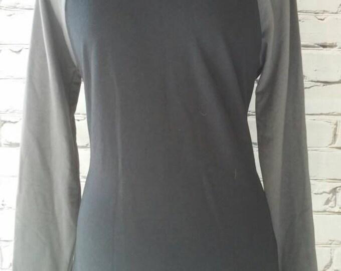 Black Organic Hooded Baseball Sleeve Sweatshirt