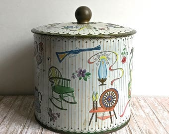 Vintage Tin Made In England Folk Images Teapot Spinning Wheel Roses Rocking Chair