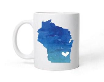Wisconsin  Love Heart State Map Mug