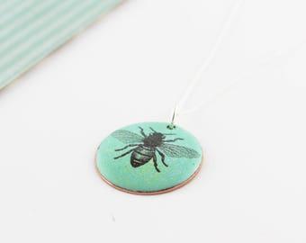 Bee enamel pendant
