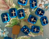Vintage Cross Cabochons, Glass cabochons, Gold Cross Religious cabochons, Christian Germany Sapphire, Square, vintage supplies N1056