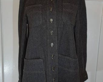 Vintage 1970s I. Magnin  Gray Wool Jacket