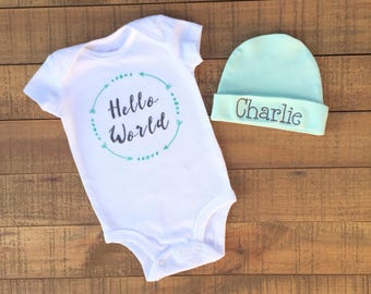 Hello World Newborn Outfit - Baby Boy Coming Home Outfit - Baby Boy Clothes - Baby Boy Gift - Baby Boy Blanket - Baby Boy Hat