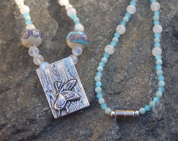 "Featured listing image: Butterfly Moonstone and Amazonite Necklace, Butterfly Necklace,""Butterfly Effect"""