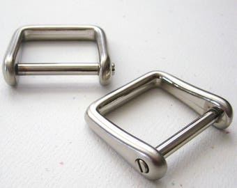 "2 Brushed Satin Nickel D Rings 1"" Screw In Replacement Purse Strap or Knife Dangler Hardware"