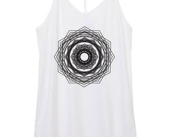 womens mandala - yoga - boho - geomentry - octagon - womens skinny strap cotton mandala tank top, mandalas, shape shirt, flower,  tank top