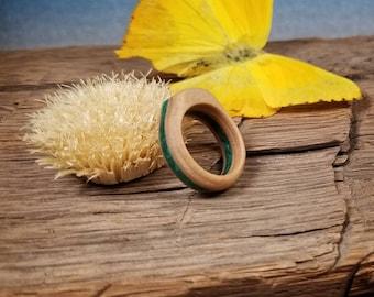 Maple Wood Ring with Crushed Green Malachite Gemstone - Size U.S. 5 & 1/2