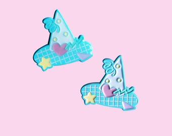 Confetti Witch Hat - Fairy Kei Soft Enamel Pin with Epoxy or No Epoxy