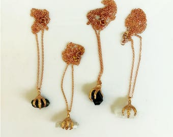 Rose Gold Crystal Necklace, Dragon Claw Necklace, Tourmaline Necklace, Quartz Necklace