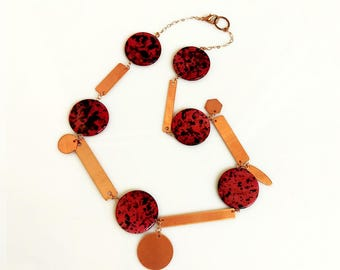 Red Statement Necklace, Modern Summer Geometric Copper Necklace, Circle Necklace, Mother of Pearl Necklace