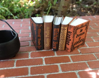 "Miniature Books ""Witch Reference"" Books, Set of 5, Dollhouse Miniature, 1:12 Scale, Halloween Decor, Dollhouse Accessory, Mini Books, Crafts"