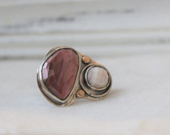 Rose cut Imperial Jasper Ring in Oxidized Sterling silver - READY TO SHIP - Size 8.25 - Large ring