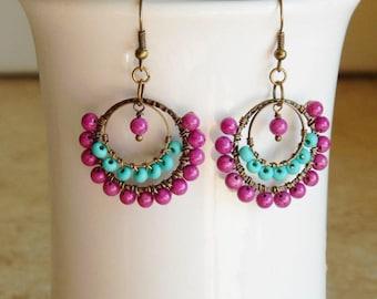 Beaded hoop earrings, wire wrapped hoops,  purple, teal,  bohemian style, lightweight statement earrings, indie, boho,  gypsy hoops