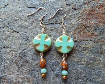 Aqua green earrings - medieval cross earrings - gold and brown - picasso czech glass - dangle earrings - cross earrings - boho jewelry