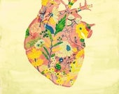 Heart with flowers poster, Anatomical heart Illustration, Heart print, 8.5x11 print, Anatomy Heart print, Bloomed heart