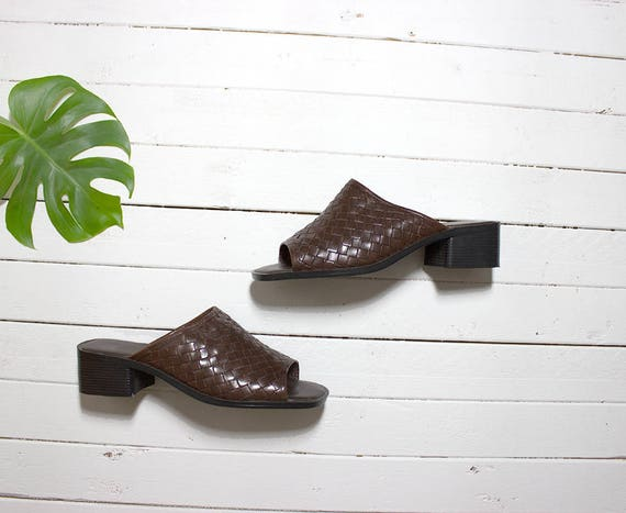 Vintage Leather Mules 7.5 / Brown Leather Mules / Peep Toe Mules / Woven Leather Mules / Slip On Sandals