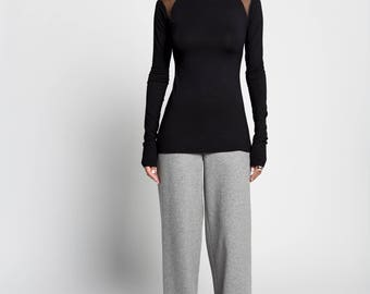 NEW New Black Shirt / Long Sleeve Blouse / Sheer Tunic / Everyday Wear / Cold Shoulder Top / Jersey Shirt / Marcellamoda- MB0966