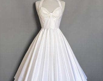 Vintage Pearl Satin Marilyn Bodice Wedding Dress - Made by Dig For Victory