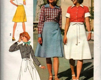Simplicity 7331 Boho Blouse & Wrap Skirt 70s Vintage Sewing Pattern Size 14  Bust 36 inches