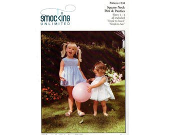 SMOCKING UNLIMITED 238 Toddler Girls Smocked Square Necked Pinafore & Bloomers Vintage Sewing Pattern Size 1 - 4 UNCUT Factory Folded