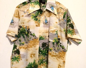 1970s Hawaiian beaches Button Up Shirt XL mt11078