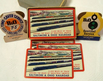 B&O RR Card Deck Plus 2 Matchbooks Freight Train B and O Track Railroad