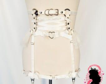 White Faux Leather Corset Garter Belt, White Corset Lacing Garter Belt, White Corset Garter Belt, Burlesque Garter Belt, BDSM Garter Belt
