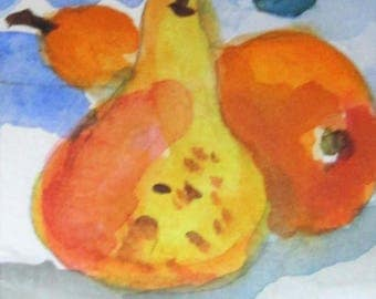Two Pears aceo original miniature artist trading card watercolor painting Art by Delilah