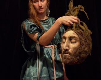 Head of Saint John the Baptist - purse / Halloween candy bag - Perfect for a Salome costume - needle felted wool with fabric lining