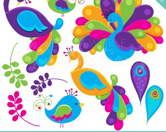 Pretty Peacocks V3 Cute Digital Clipart for Commercial or Personal Use, Peacock Art, Peacock Graphics, Pink Purple Orange Peacock Clip Art