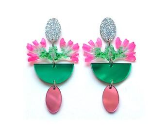 Laser Cut Earrings Acrylic Earring Statement Earrings Dangle Earrings Flower Earrings Resin Earrings Laser Cut Jewelry Plant Earrings